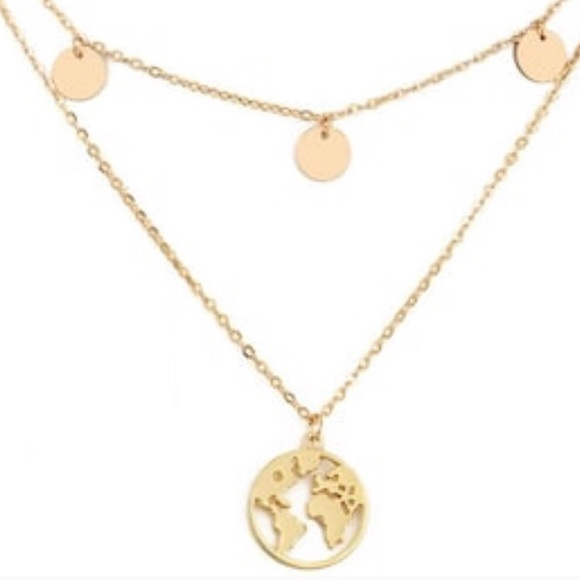 Ocean Dreams Jewelry - Trendy Rose Gold Our World, Layered Necklace